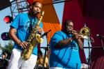 Hot 8 Brass Band at Music Tastes Good, Oct. 1, 2017. Photo by Samantha Saturday